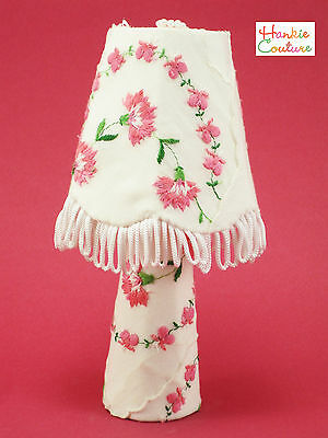 OOAK VINTAGE EMBROIDERED LAMP BARBIE DOLL SIZE FURNITURE HANKIE COUTURE HANDMADE
