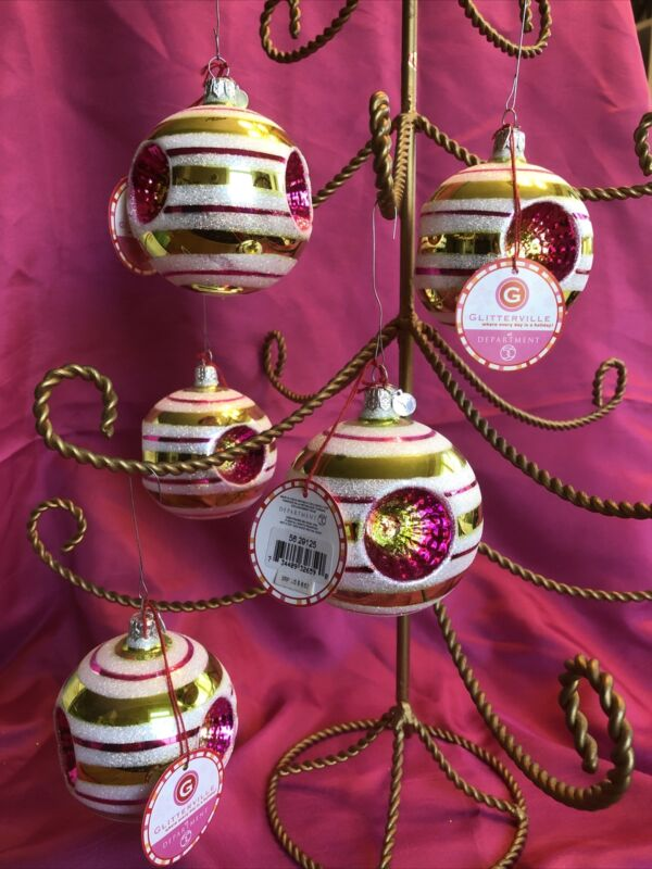 5 Department 56 Glitterville Ornaments With Tags