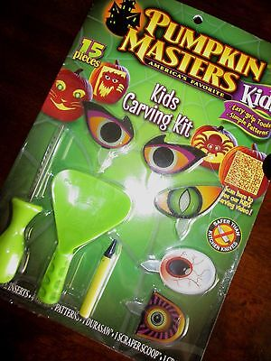 Pumpkin Masters KIDS CARVING KIT 8 Eye Inserts NEW Easy Tools SIMPLE PATTERNS