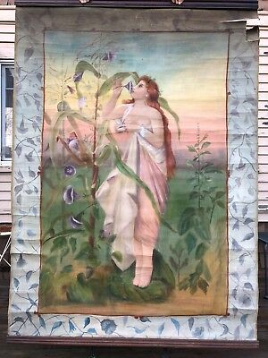 Antique Huge Theatrical Original Sideshow Banner Neoclassical Nude