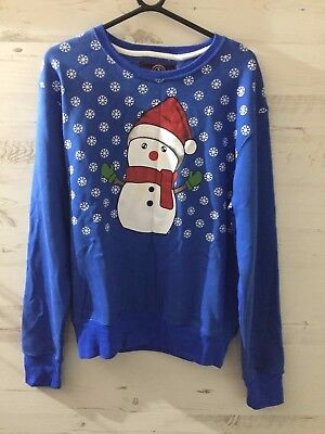 Blue Snowman Xmas Christmas Jumper Sweatshirt Party Sweater S New Tags Gift
