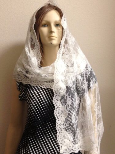 Ivory rectangle lace veil mantilla Catholic scarf latin Mass headcovering RNL