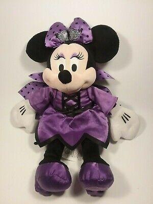 "Original Disney Store Minnie Mouse Purple Bat Halloween Costume Dress Plush 15"""