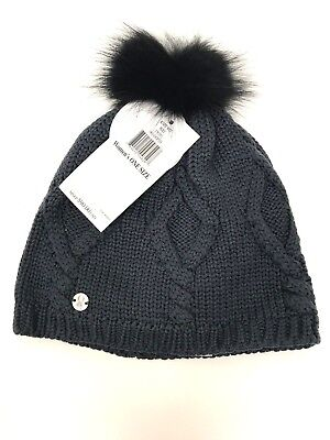 SPYDER Fur Pom Beanie Women's Merino Winter Hat Cable Knit Coyote Fur NWT $90 (Spyder Womens Cable Hat)
