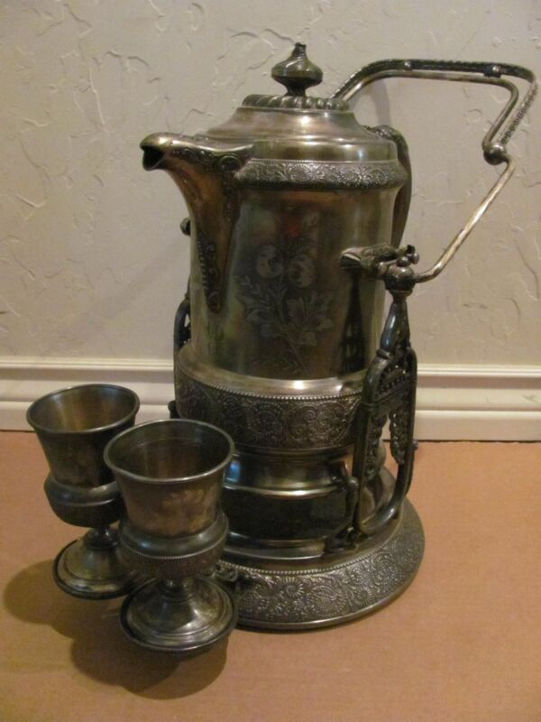 RARE ANTIQUE WILCOX QUADRUPLE PLATE SILVER TILTING COLD WATER PITCHER & 2 GOBLET