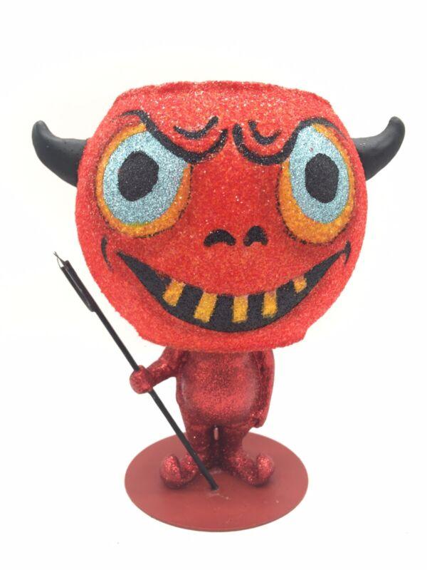 """Vintage Dept 56 Halloween Devil Votive Candle Holder Red Glitter 6"""" Tall"""