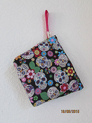 Candy Skull Make-up (MAKE UP BAG BRUSH PURSE SUGAR CANDY SKULL MEXICAN DOLLY HANDBAG MAKE UP DRESS)