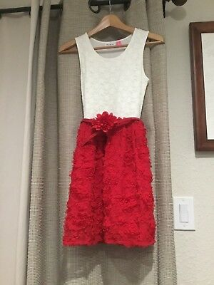 Children's place Girls Large 10/12 party dress red roses and white - Girls Party Place