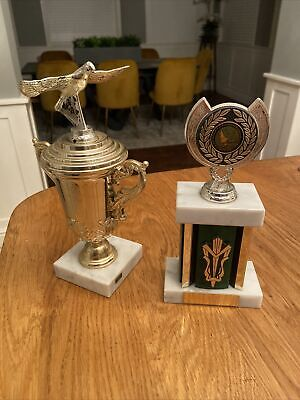 Pair Of Pigeon Racing Trophies Trophy With Marble Bases Unsigned By Bob Nellis