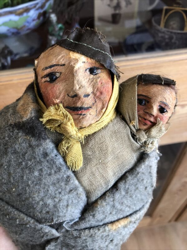 Antique C 1920 Native American Doll Squaw Papoose Mary Francis Woods MF