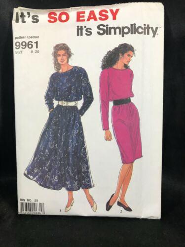Vintage SIMPLICITY Sewing Pattern 9961 Misses Dress