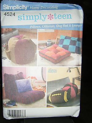 Simplicity Simply Teen 4524 Pillows, Ottoman, Dog Bed  & Lounger Pattern