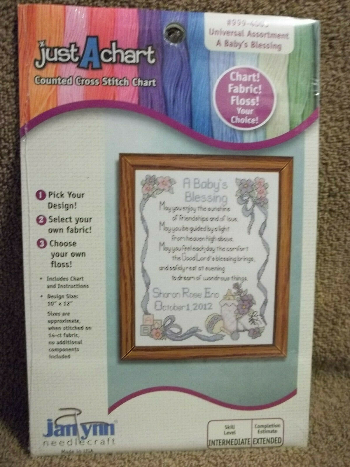Just a Chart Counted Cross Stitch Chart - A Baby's Blessing