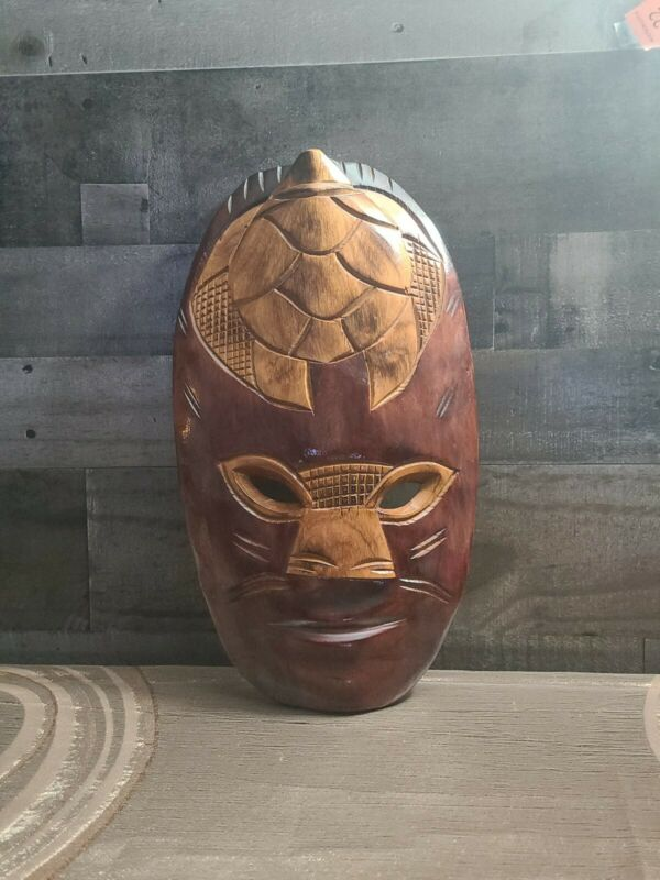 """Tribal Mask with Turtle Head~Hand Carved Two Tone Wood~Wall Mount~9"""" x 16""""🐢"""