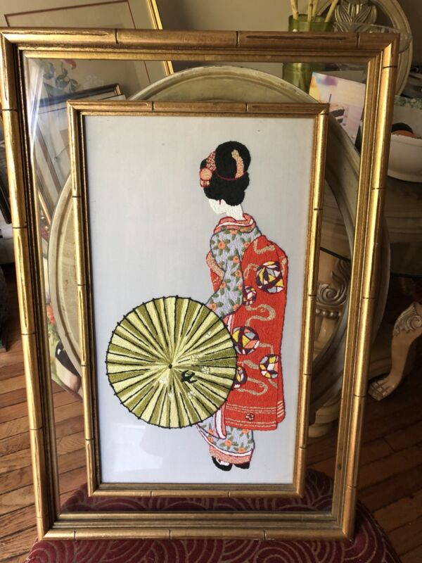 Beautiful GLASS FRAMED NEEDLE PUNCH PICTURE JAPANESE GIRL WOMAN GEISHA