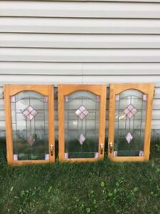 Solid oak stained glass cabinet doors, Worth 500$