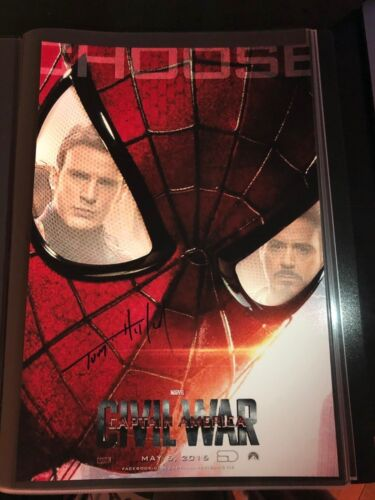 TOM HOLLAND SIGNED CAPTAIN AMERICA CIVIL WAR 12X18 PHOTO! SPIDER-MAN AUTOGRAPH!