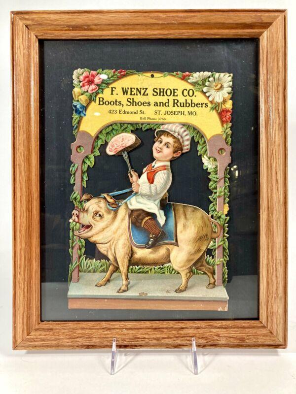 Antique Framed WENZ SHOE CO. Die-Cut Advertising Sign, Butcher, Pork, Pig