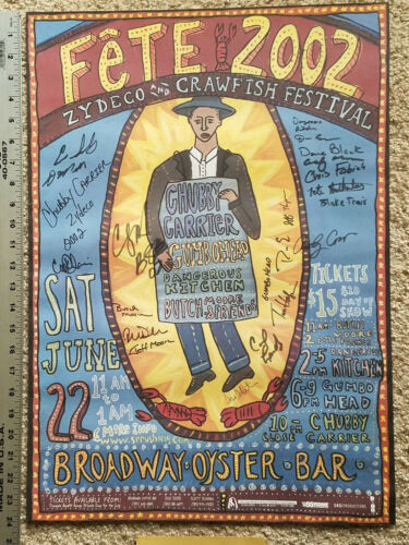 Fete 2002 Zydeco & Crawfish Festival Concert Poster, Signed by 23 Artists