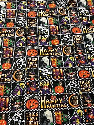 2003 Cranston Mary Engelbreit Halloween CUTE Picture Block Squares Fabric 18.5in - Cute Halloween Pic