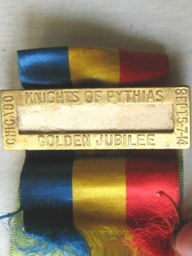 1914  GOLDEN ANNIVERSARY KNIGHTS PYTHIAS NAME TAG BADGE & INFORMATION RIBBON