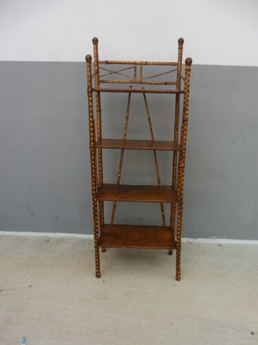 19TH C FINE TORTOISE SHELL BAMBOO 4 TIER ETAGERE OR MAGAZINE RACK