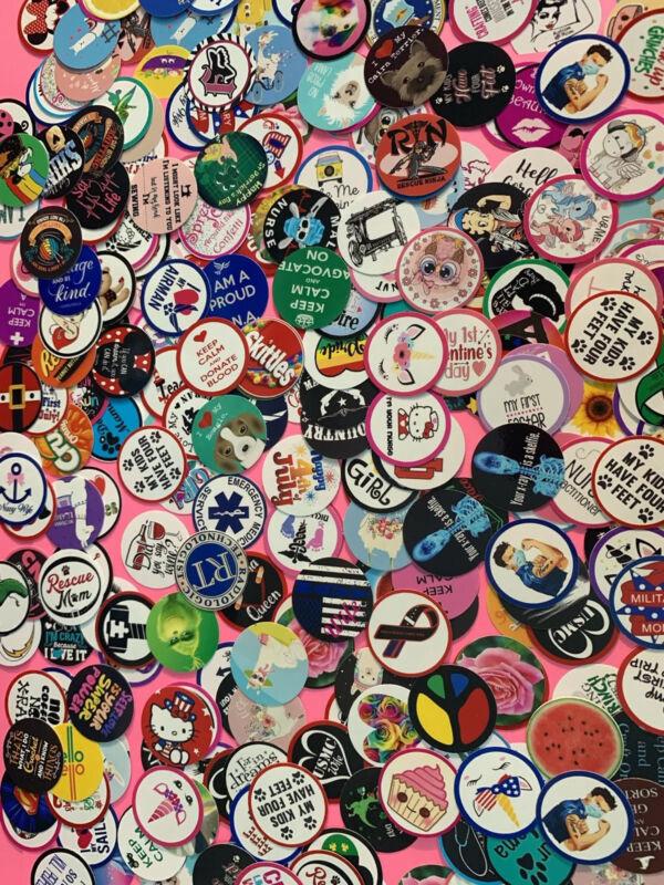 Mix set of 75 bottle cap images, random assortment, precut 1 inch circles
