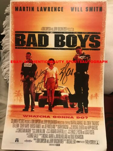 BAD BOYS MOVIE SIGNED WILL SMITH MARTIN LAWRENCE JERRY BRUCKHEIMER 12x18 REPRINT