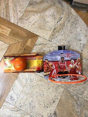 Rare Nerf NBA Mini Basketball Hoop Sport Nerfoop Indoor Pro Set Yao Ming Rockets