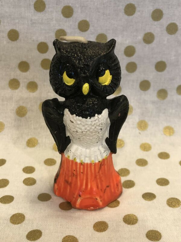 Vintage Gurley Halloween Owl Candle Holiday Novelty Collectible