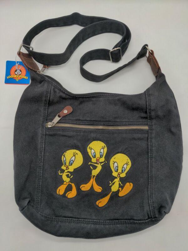 Vintage Tweety Bird Looney Tunes Black Denim Bag Purse Messenger NWT 1996 90s