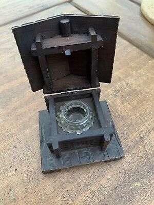 VINTAGE BLACK FOREST SWISS CHALET WOODEN INKWELL