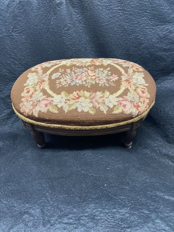 French needlepoint footstool antique handcarved ovoid shape vintage