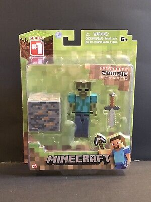 "Minecraft Overworld Zombie 3"" Figure + Accessories~Fully Articulated~Series 1"