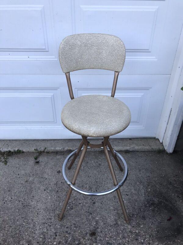 Vintage Mid Century Modern Cosco Swivel Bar Stool Chair W/Chrome Original Cover
