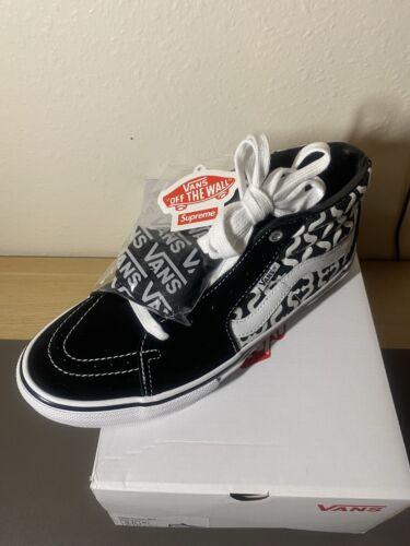 Supreme x Vans Collab Monogram S Logo Skate Grosso Mid Black Men's Size 9