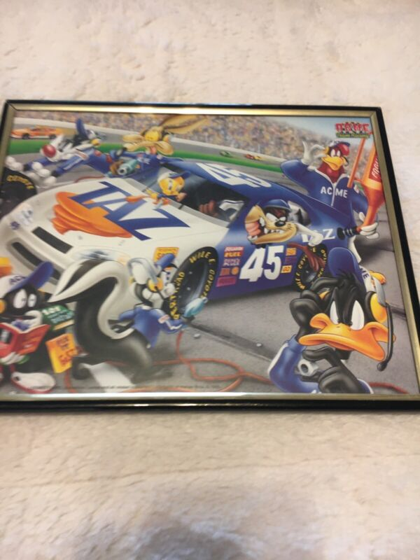 Vintage Devil TAZ Race Car NASCAR Looney Tunes Characters Framed Picture 1998