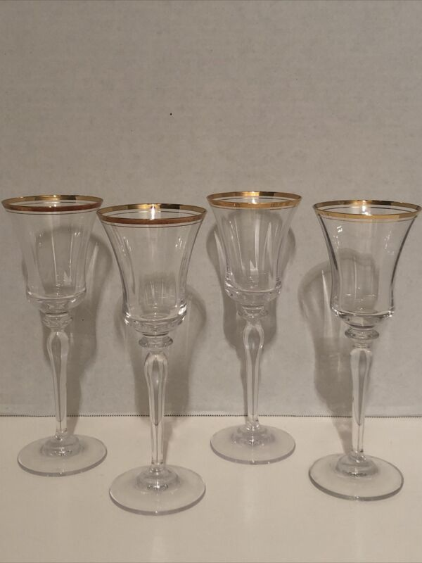 Mikasa Crystal Jamestown Gold  Wine Glasses Set of 4 - 8 3/4""