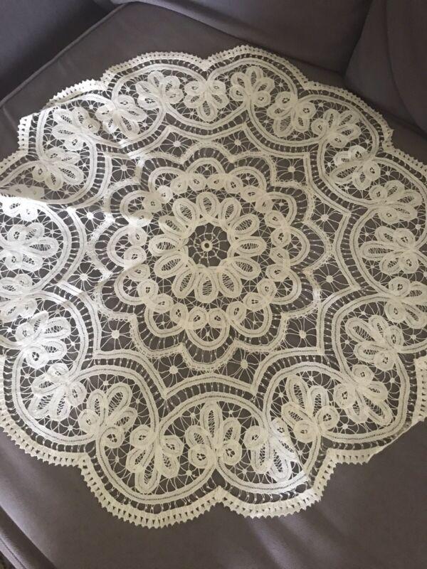 """Antique Vintage Battenburg Tape Lace Tablecloth Topper Large Centerpiece 22"""""""