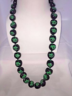Hawaii Wedding Kukui Nut Lei Necklace ~ BLACK W/ GREEN HONU TURTLE ( QTY 2 )