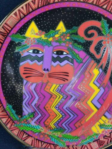 "RARE 1994 Laurel Burch Fanciful Cats #4 ""Festive Felines"" Xmas Plate NIB w/COA"