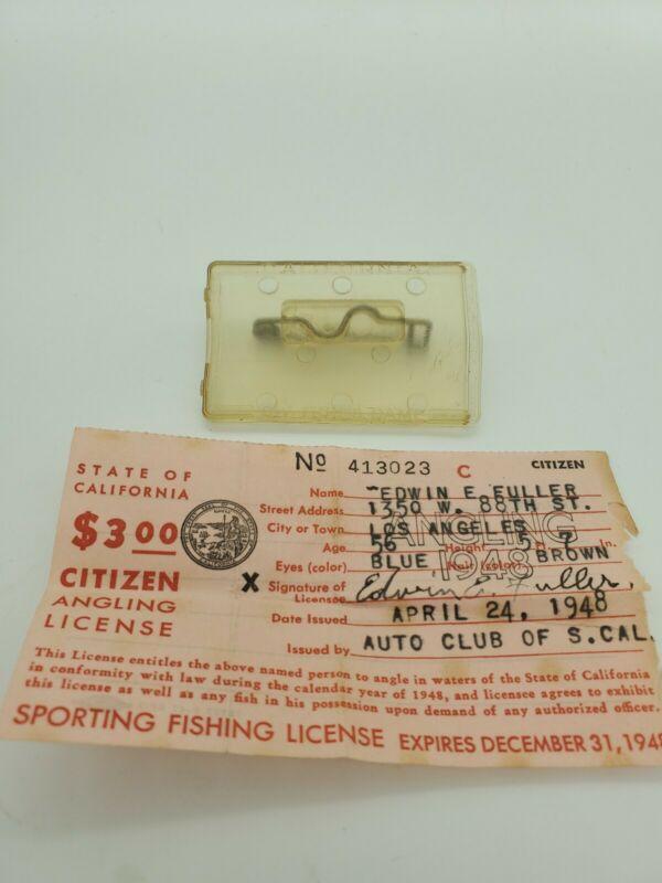 Vintage Auto Club Of S. California Sport Fishing License 1948 Original Pin Case