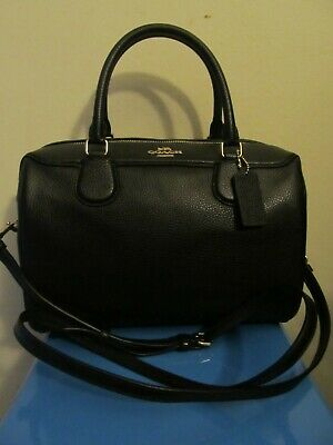 NWT Coach Pebbled Leather Bennett Satchel Crossbody Black Handbag #31376