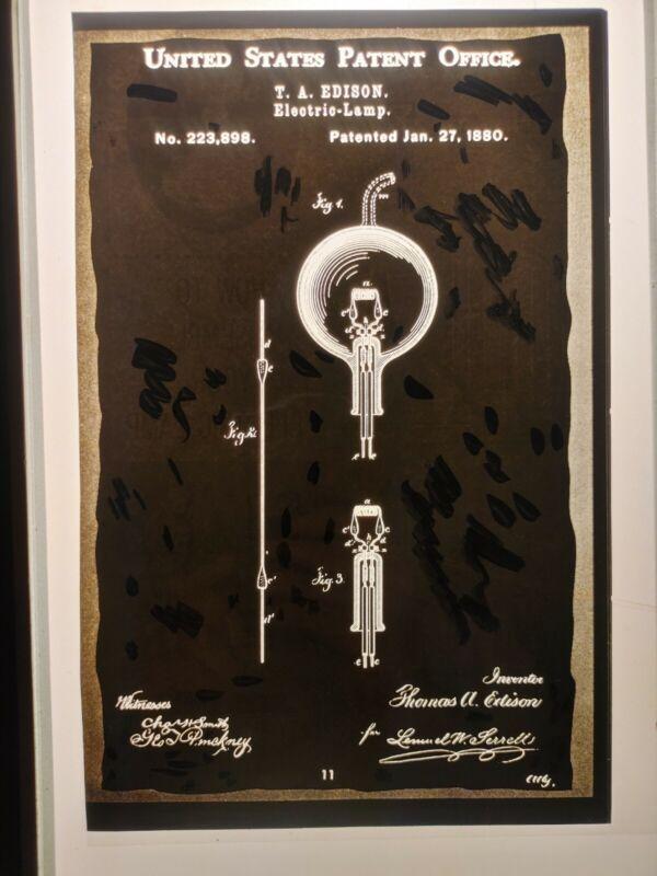 RARE THOMAS EDISON UNITED STATES PATENT OFFICE ELECTRIC LAMP NEGATIVE