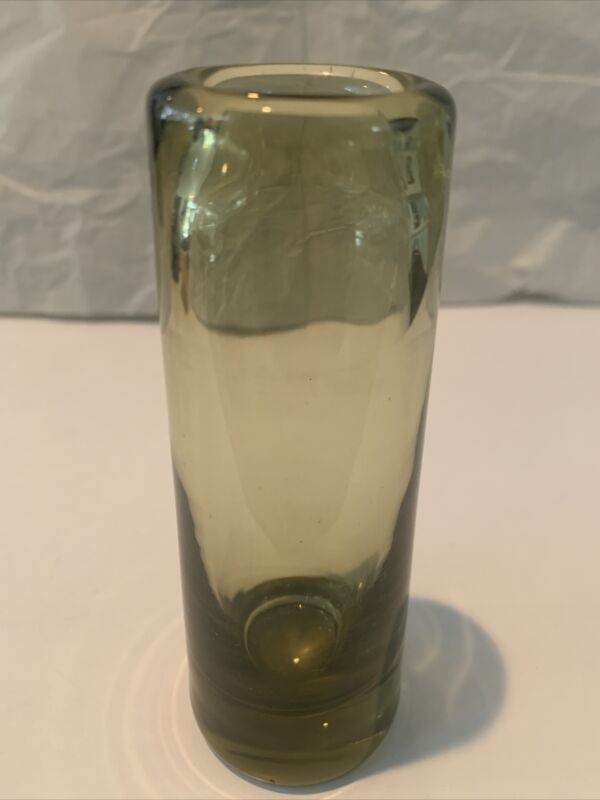 Vintage 1959 Holmegaard Cylinder Vase Per Lutken Denmark MCM Light Green