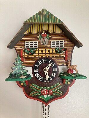 Vintage German Coo Coo Clock Colourful Bird, Deer Mushroom Cuckoo Sounds