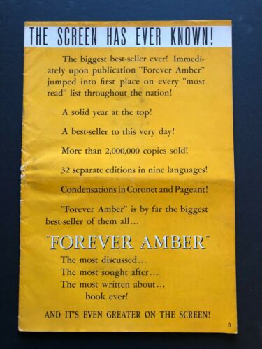 "Forever Amber Original Movie Pressbook (1947) - 26 Pages - 10.5"" x 15.5"" VG"