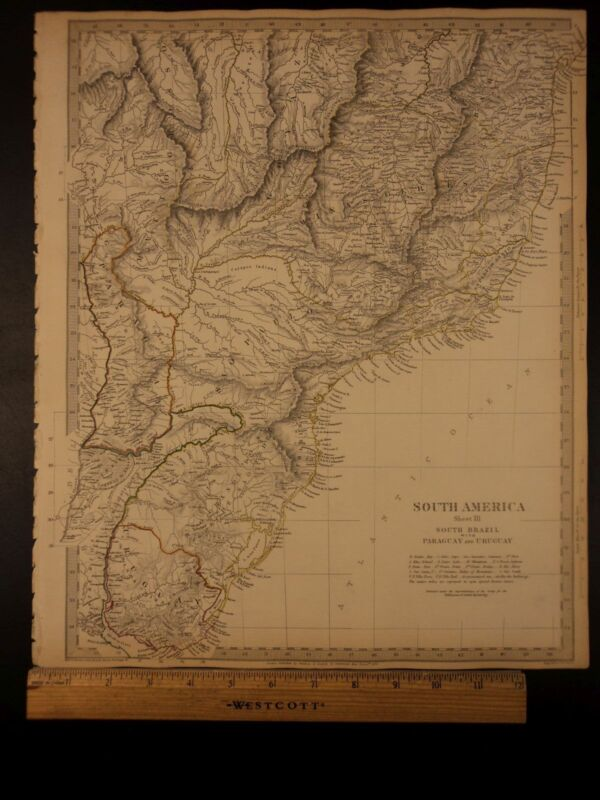 1844 BEAUTIFUL Huge Color MAP of South America Brazil Paraguay Uruguay ATLAS