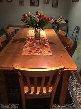Balric pine 6 seated dining table and matching chairs North Narrabeen Pittwater Area Preview