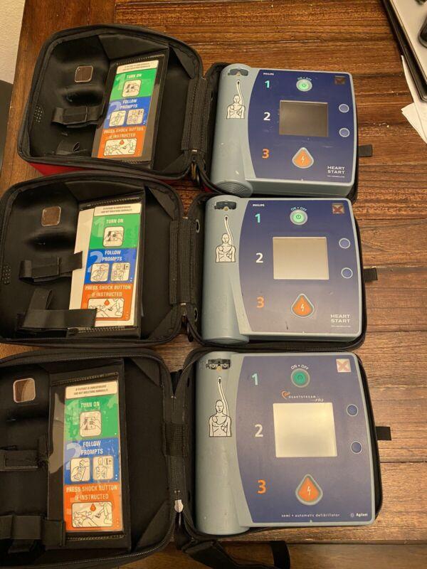 (3) Units Philips Heartstart FR2 Defibillators With Batteries